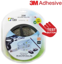 5m LED Strip Pack Warm White IP65 Rated 12V with Connectors, Cable, Driver