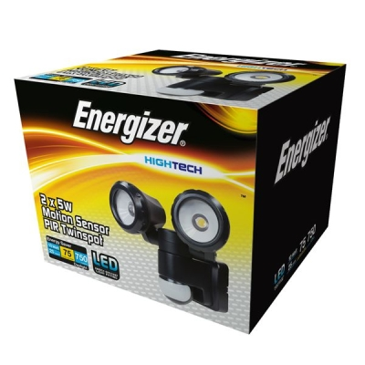 6 Watt Cool White PIR Energizer Twin Spotlight