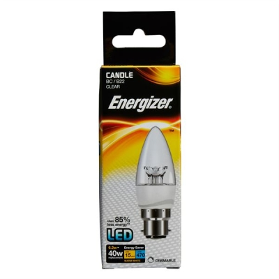 6.2 Watt Dimmable Energizer LED Warm White 470lm Clear B22 Candle