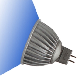 This is a 7 W GX5.3/GU5.3 bulb that produces a Blue light which can be used in domestic and commercial applications
