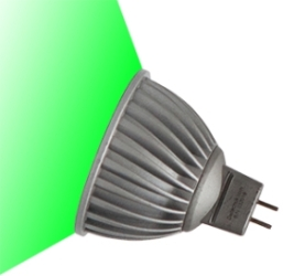This is a 7 W GX5.3/GU5.3 bulb that produces a Green light which can be used in domestic and commercial applications
