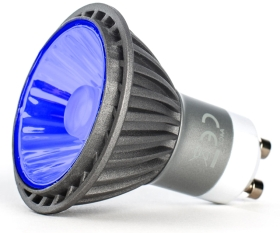 This is a 7 W GU10 Reflector/Spotlight bulb that produces a Blue light which can be used in domestic and commercial applications