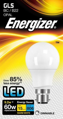 9.2 Watt Dimmable Energizer LED Warm White 806lm B22 GLS