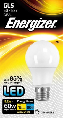 9.2 Watt Dimmable Energizer LED Warm White 806lm E27 GLS