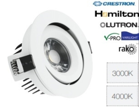 ALL LED 10 Watt IP44 Dimmable Adjustable Cool White LED Fire Rated Downlight