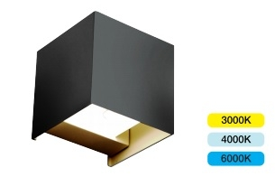 ALL LED Morph 11W IP65 Colour Selectable Decorative Black Square Up/Down Wall Luminaire