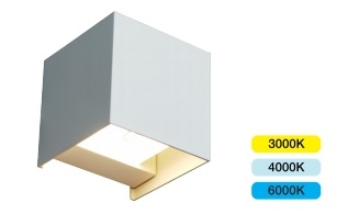 ALL LED Morph 11W IP65 Colour Selectable Decorative White Square Up/Down Wall Luminaire