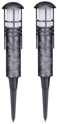 Aged Iron Finish Low Voltage LED 2 Piece Garden Pathway Posts