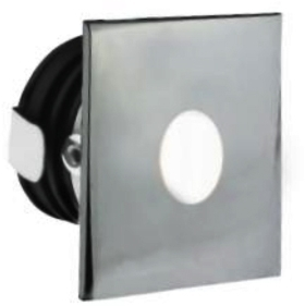 All LED 1 Watt Chrome IP65 Low Level Round Window (Cool White)