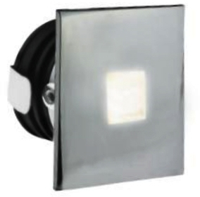 All LED 1 Watt Chrome IP65 Low Level Square Window (Cool White)