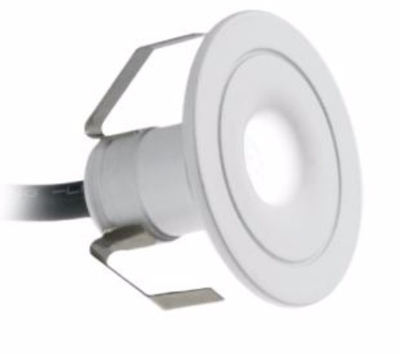 All Led 30mm Dia 1 Watt Ip44 Led Marker Light Warm White White Finish