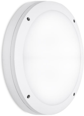 Aurora 100-240V IP65 Round Alum. 18W 1260lm Emergency LED Bulkhead White