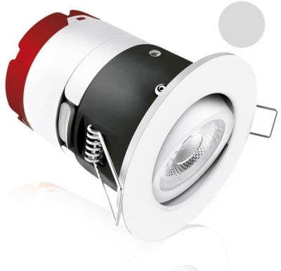 Aurora 240V MPRO LED IP65 Adj. 7W Fire Rated Downlight Warm White (Polished Chrome)