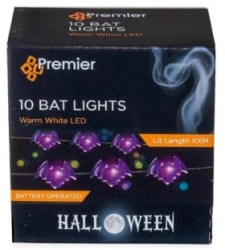 Battery Operated LED Halloween Bat Pin Wire Lights (10x Bats)