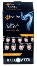 Battery Operated LED Halloween Day of the Dead String Lights (10x Skulls)