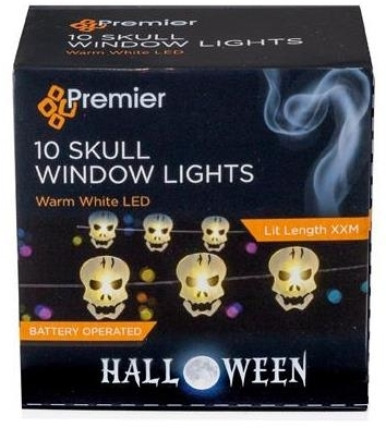Battery Operated LED Halloween Skull Head Pin Wire Lights (10x Skulls)
