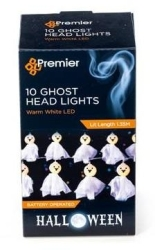 Battery Operated LED Halloween Smiley Ghost Head String Lights (10x Smiley Ghosts)