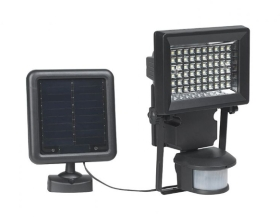 Black Cast Metal Solar Power LED Security Light with Motion Sensor