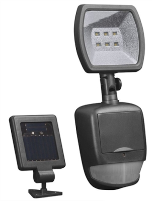 Black Plastic Solar LED Security Light with Motion Sensor