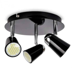 Black/Chrome Laurel 3 Way GU10 Round Plate Spotlight