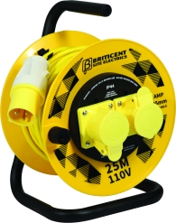 Briticent 110V 16A Yellow Open Cable Reel 2x Socket (25 Metres)