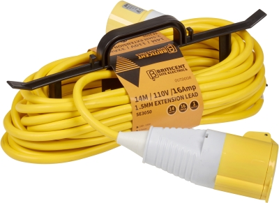 Briticent H-Frame 110V 16A 1.5mm Yellow Extension Lead (25 Metres)