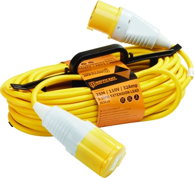 Briticent H-Frame 110V 32A 1.5mm Yellow Extension Lead (25 Metres)