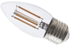 Calex 240V 3.5W Clear Dimmable Full Glass Filament Candle Lamp 350lm 2700K Warm White E27