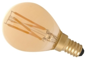 Calex 240V 3.5W Gold Dimmable Full Glass Filament Ball Lamp 200lm 2100K Warm White E14