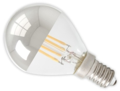 Calex 240V 4W Clear Dimmable Full Glass Top-Mirror Filament Ball Lamp 310lm 2700K Warm White E14