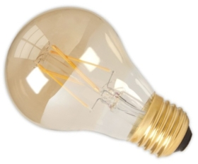 Calex 240V 6.5W Gold Dimmable Full Glass Filament GLS-Lamp 600lm 2100K Warm White E27