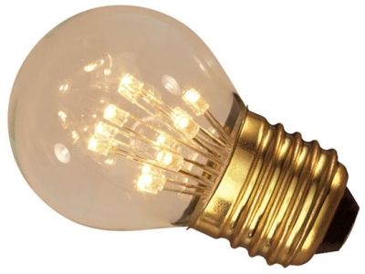 This is a 1W 26-27mm ES/E27 Golfball bulb that produces a Very Warm White (827) light which can be used in domestic and commercial applications