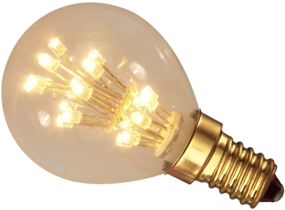This is a 1W 14mm SES/E14 Golfball bulb that produces a Very Warm White (827) light which can be used in domestic and commercial applications