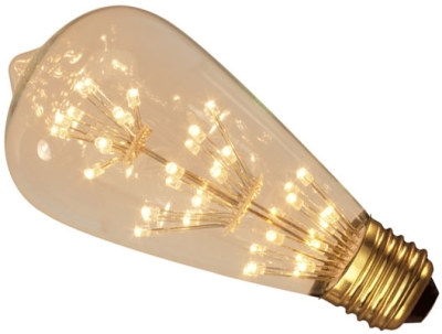 This is a 2W 26-27mm ES/E27 Squirrel Cage bulb that produces a Very Warm White (827) light which can be used in domestic and commercial applications