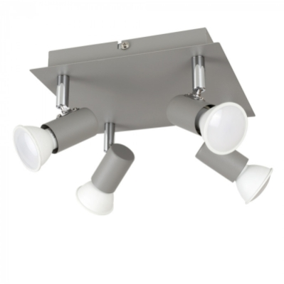Cement/Chrome 4 Way Square Spotlight