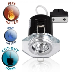 Chrome/Clear Fire Rated IP65 Hexagonal GU10 Downlight NO BULB