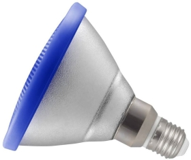 This is a 13W 26-27mm ES/E27 Reflector/Spotlight bulb that produces a Blue light which can be used in domestic and commercial applications