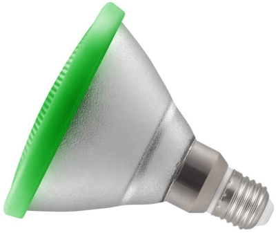 This is a 13W 26-27mm ES/E27 Reflector/Spotlight bulb that produces a Green light which can be used in domestic and commercial applications