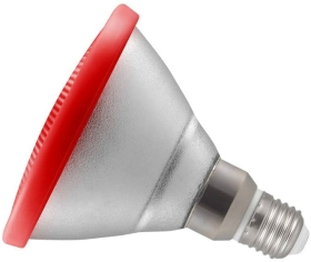 This is a 13W 26-27mm ES/E27 Reflector/Spotlight bulb that produces a Red light which can be used in domestic and commercial applications