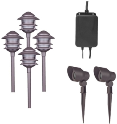 Dark Matt Brown Low Voltage LED Pagoda Garden Lighting 6 Piece Starter Kit