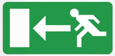 Emergency Exit Sign Legend (Panel Arrow Left)