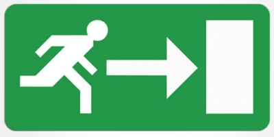 Emergency Exit Sign Legend (Panel Arrow Right)