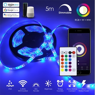 Ener-J IP65 12V (Indoor and Outdoor Use) 5M LED RGB + Warm White + Cool White Dimmable Strip Kit (4