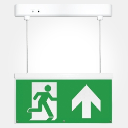 Eterna IP20 3 Hour 2.3W LED Emergency Hanging Exit Sign Light With ISO Up Arrow Legend (Pro - 5 Year
