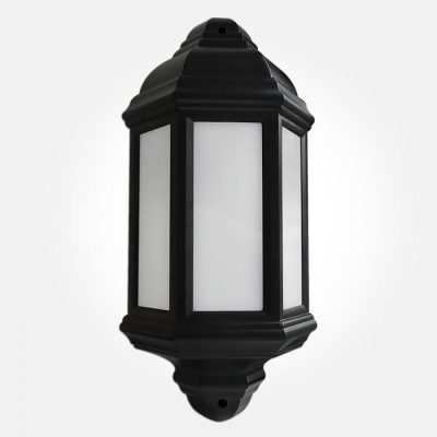 Eterna IP44 Warm White 7W Black LED Half Lantern