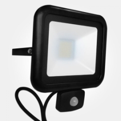 Eterna IP54 Cool White 50W Black LED Floodlight with 120 Degree PIR Sensor