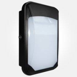 Eterna IP65 17W LED Colour Temperature Selectable Slim Wall Bulkhead with Photocell in Black