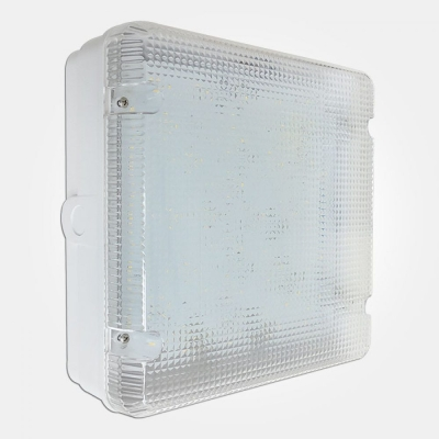 Eterna IP65 Cool White 18W Fresh Prince Square LED Utility Fitting + MW Sensor and Prismatic Diffuse