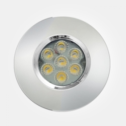 Eterna IP65 Cool White 6.5W Polished Chrome Dimmable LED Fire Rated Integrated Downlight with 4 Pole