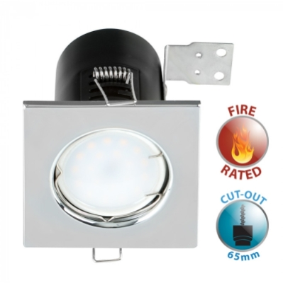 Fire Rated GU10 Downlight with Chrome Square Bezel NO BULB